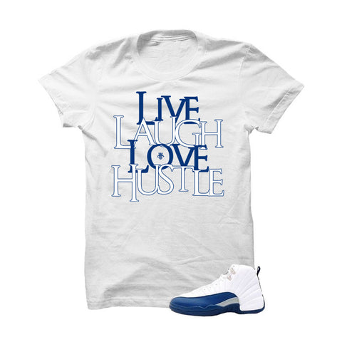 Jordan 12 French Blue White T Shirt (Love Hustle)