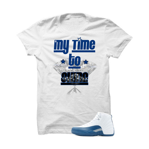 Jordan 12 French Blue White T Shirt (My Time To Shine)