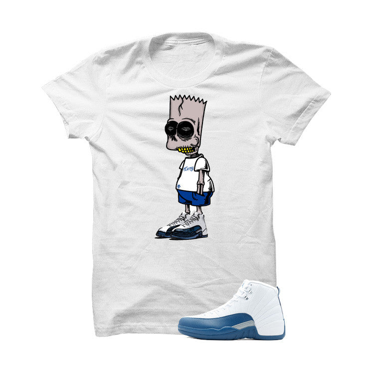 Jordan 12 French Blue White T Shirt (Zombie Bart) - illCurrency Matching T-shirts For Sneakers, Jordan's and foamposites