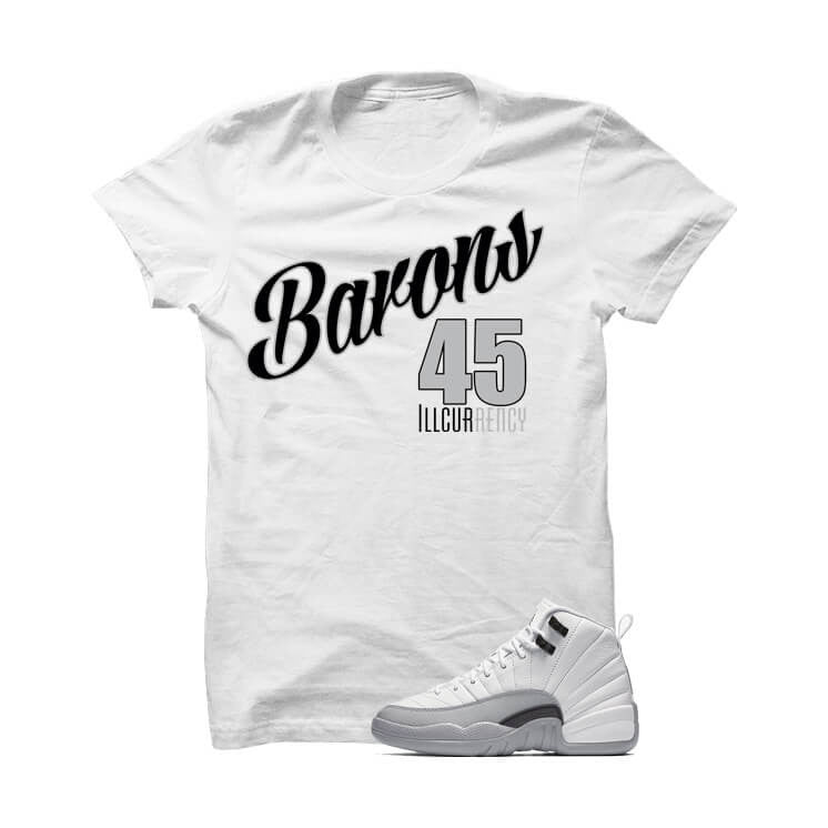 Jordan 12 Gs Barons White T Shirt (Barons 45) - illCurrency Matching T-shirts For Sneakers and Sneaker Release Date News