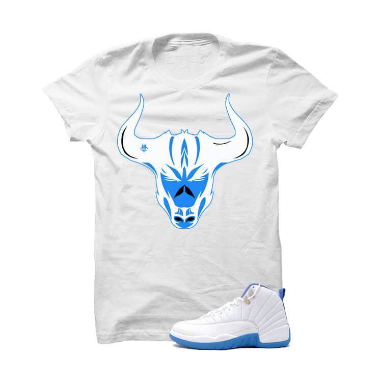Jordan 12 Gs University Blue White T Shirt (Bulls Head) - illCurrency Matching T-shirts For Sneakers and Sneaker Release Date News