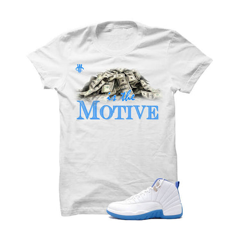 Jordan 12 Gs University Blue White T Shirt (Bulls Head)