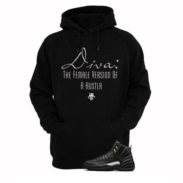 Jordan 12 Master Black Hoodie (Diva) - illCurrency Matching T-shirts For Sneakers and Sneaker Release Date News