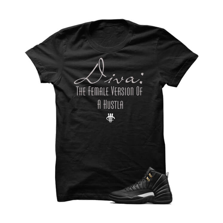 Jordan 12 Master Black T Shirt (Diva) - illCurrency Matching T-shirts For Sneakers, Jordan's and foamposites
