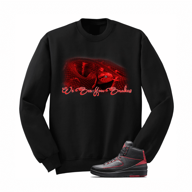 Jordan 2 Alternate 87 Black Sweatshirt (Snakes) - illCurrency Matching T-shirts For Sneakers, Jordan's and foamposites
