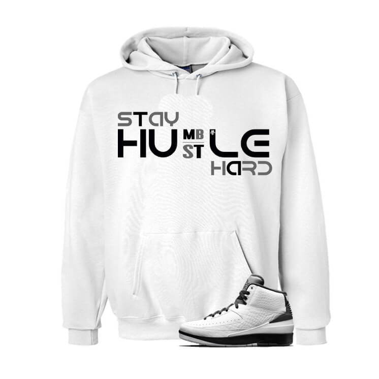 Jordan 2 Wing It White Hoodie (Hustle Hard) - illCurrency Matching T-shirts For Sneakers, Jordan's and foamposites