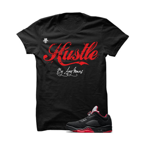 Hustle By Any Means Metallic Silver 5s White T Shirt