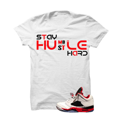 Jordan 5 Low Fire Red White T Shirt (Dishonor)