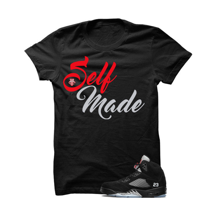 Shirt - Jordan 5 OG Black Metallic  Black T Shirt (Self Made)