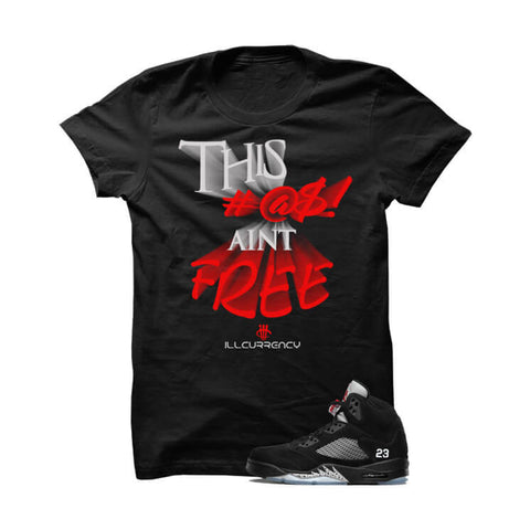 Jordan 5 OG Black Metallic  Black T Shirt (Self Made)
