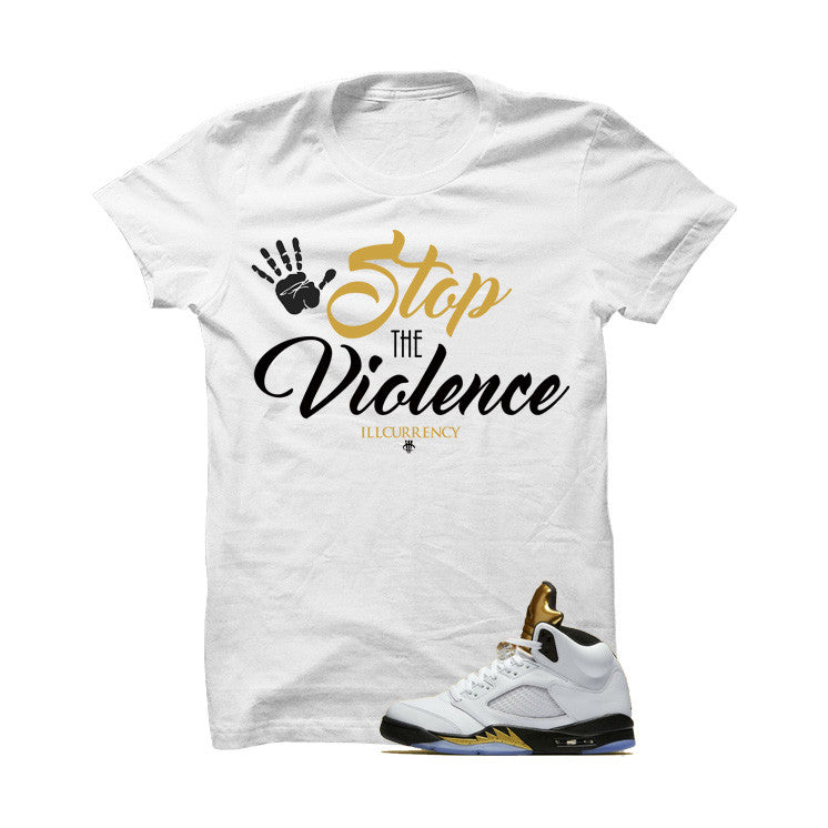 Jordan 5 Olympic White T Shirt (Stop The Violence) - illCurrency Matching T-shirts For Sneakers and Sneaker Release Date News