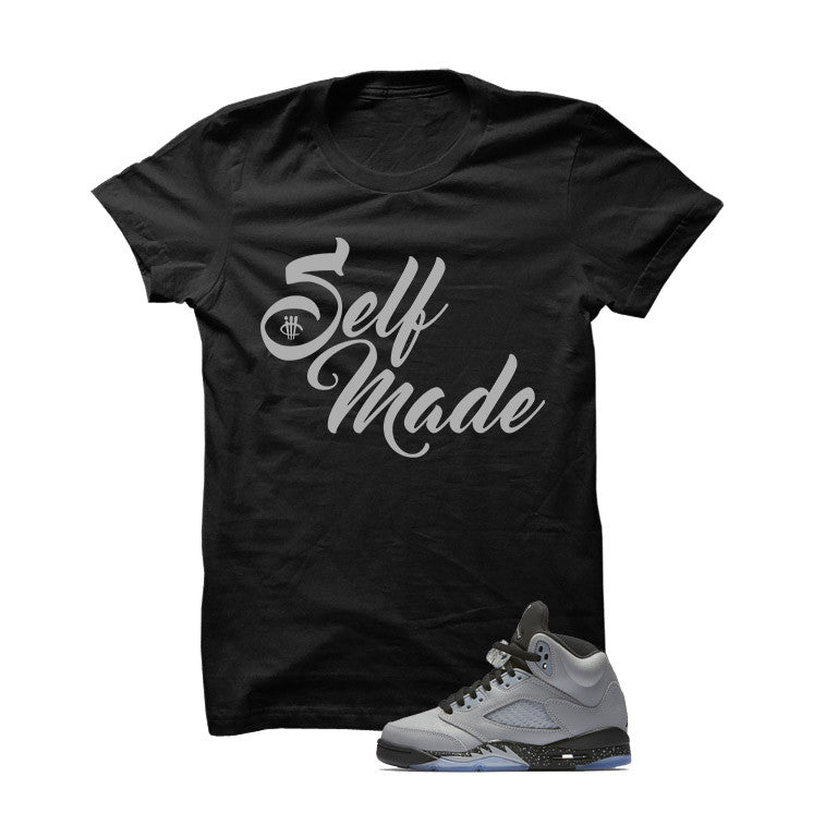Jordan 5 Wolf Grey Black T Shirt (Self Made) - illCurrency Matching T-shirts For Sneakers and Sneaker Release Date News