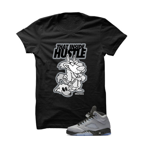 Jordan 5 Wolf Grey Black T Shirt (Self Made)