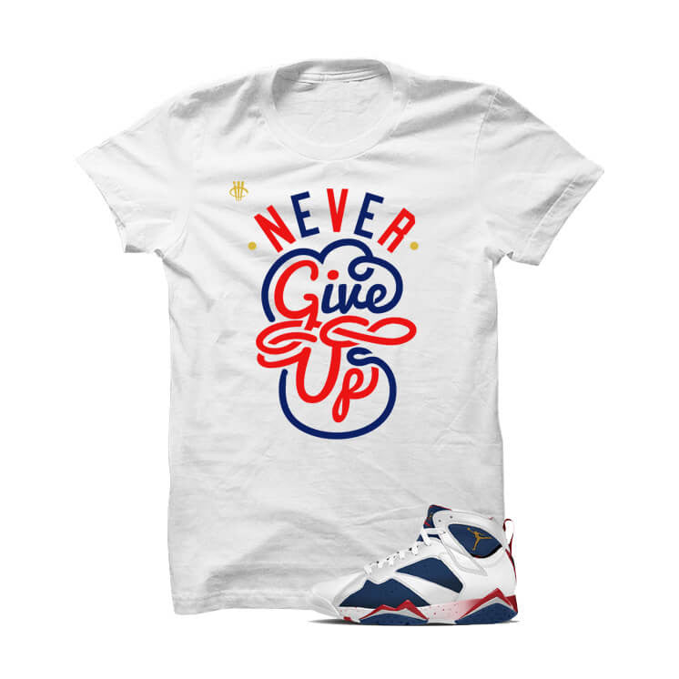 Jordan 7 Tinker Alternate Olympic White T Shirt (Never Give Up) - illCurrency Matching T-shirts For Sneakers and Sneaker Release Date News