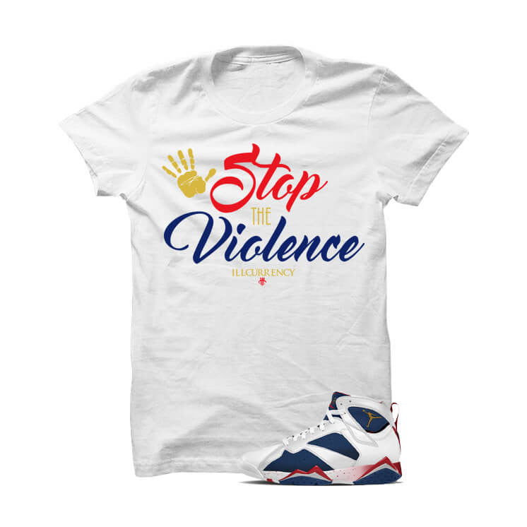 Jordan 7 Tinker Alternate Olympic White T Shirt (Stop The Violence) - illCurrency Matching T-shirts For Sneakers and Sneaker Release Date News
