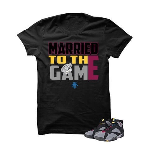 Hustle By Any Means Bordeaux 7s Black T Shirt