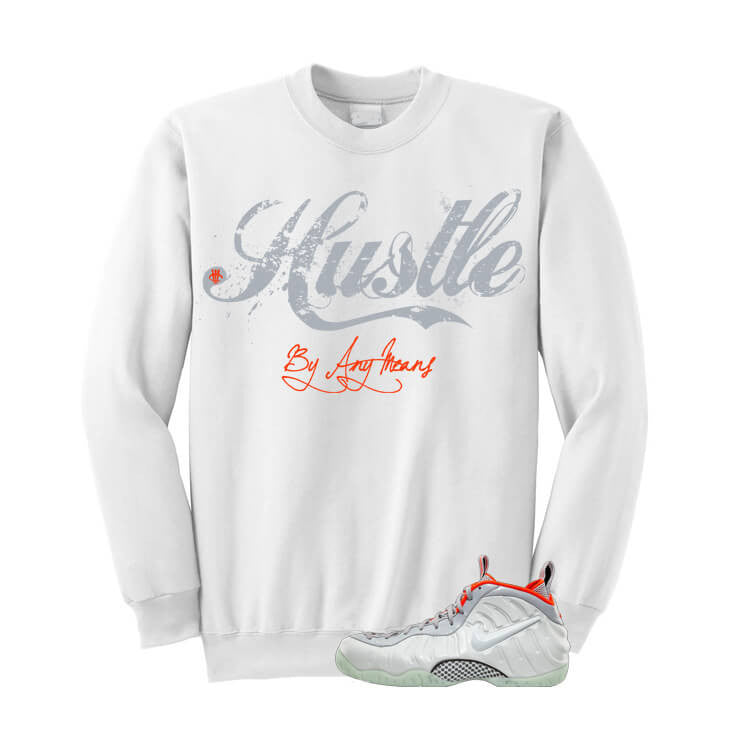 Pure Platinum Pro Foams White Sweatshirt (Hustle) - illCurrency Matching T-shirts For Sneakers and Sneaker Release Date News
