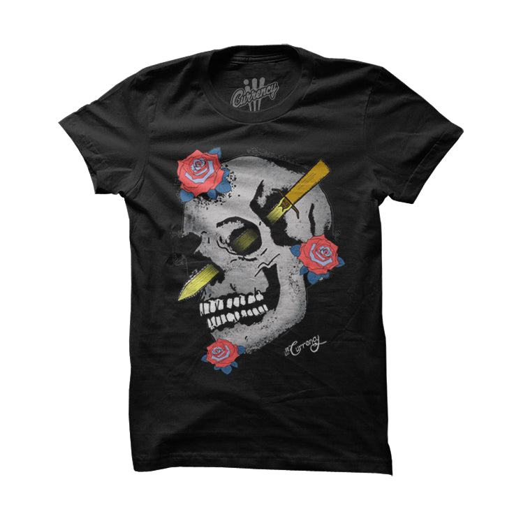 Skulls and Roses Infrared6s Black T Shirt - illCurrency Matching T-shirts For Sneakers and Sneaker Release Date News