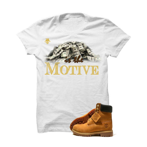 "Timberland 6"" Boots White T Shirt (Money Is The Motive)"
