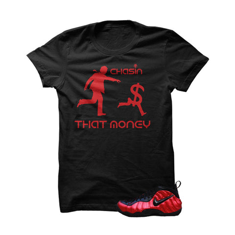 University Red Foams Black T Shirt (Chasing That Money)
