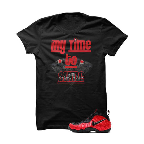 University Red Foams  Black T Shirt (My Time To Shine)