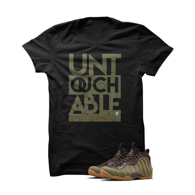 Untouchable Olive Foams Black T Shirt - illCurrency Matching T-shirts For Sneakers and Sneaker Release Date News