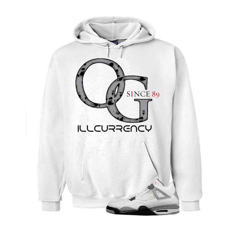 White Cement Jordan 4 OG White Hoodie - illCurrency Matching T-shirts For Sneakers and Sneaker Release Date News