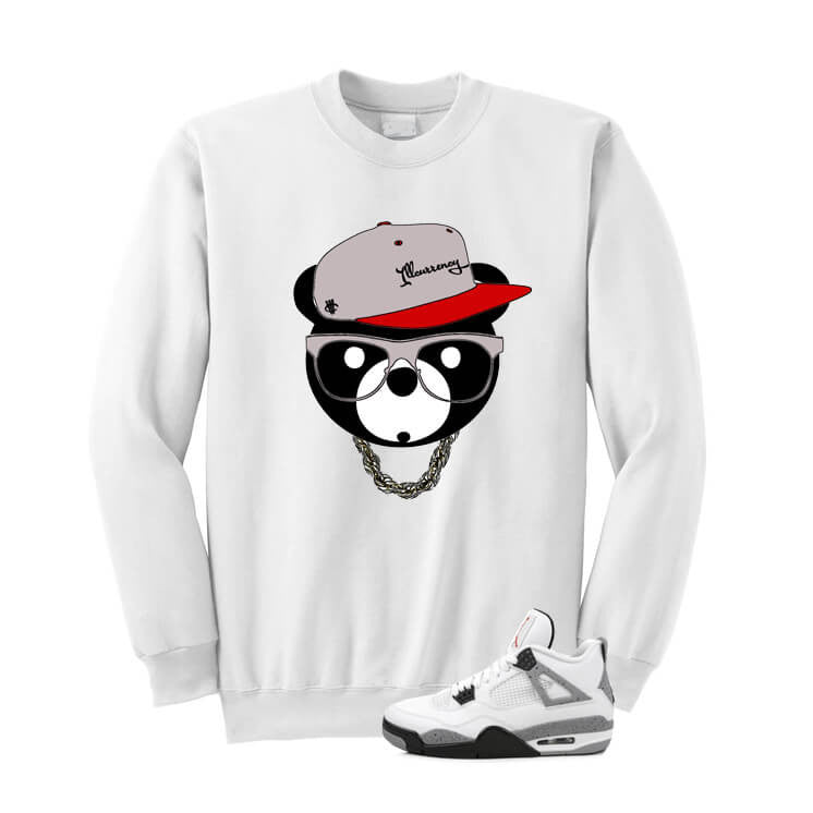 White Cement Jordan 4 OG White Sweatshirt (ill Bear) - illCurrency Matching T-shirts For Sneakers and Sneaker Release Date News