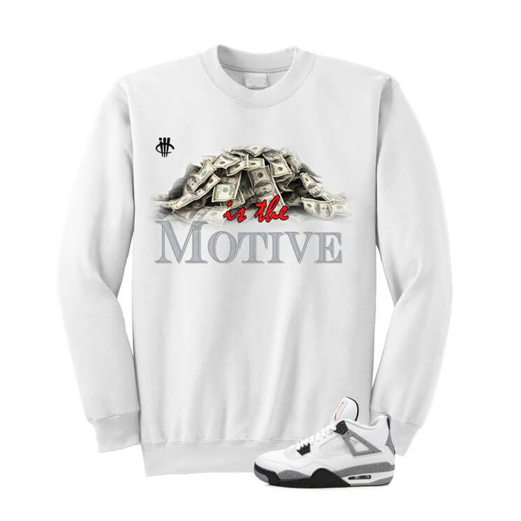 White Cement Jordan 4 OG White Sweatshirt (Money) - illCurrency Matching T-shirts For Sneakers and Sneaker Release Date News