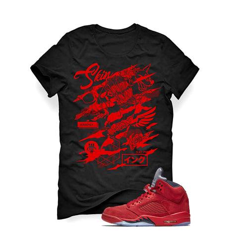 Air Jordan 5 University Red Black T (Skin And Ink)