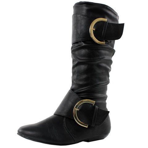Algiers Slouch Mid-Calf Buckles Flat Slouchy Round Toe Boots