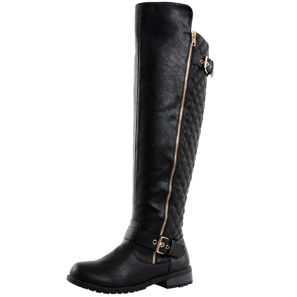Detroit Quilted Thigh High Riding Boots