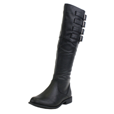 Madrid Motorcycle Low Heel Knee High Boots