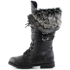 Shanghai Winter Faux Fur Lace Up Combat Boots