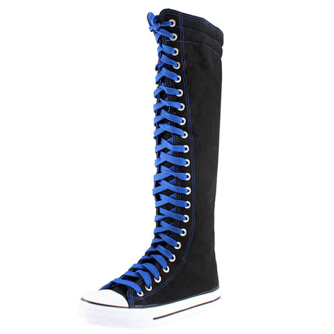 Color Laces Knee High Lace Up Sneaker Boots