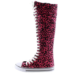 Animal Print Lace-Up Knee High Sneaker Boots