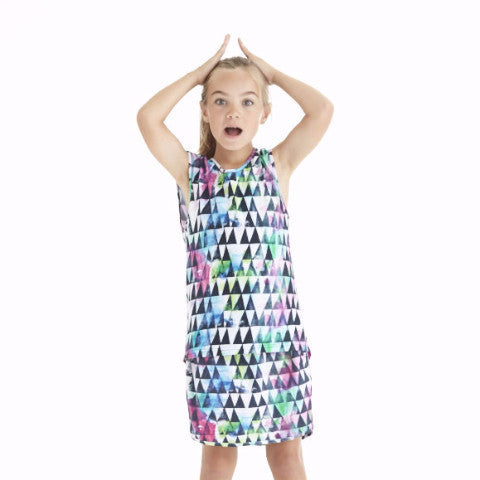 Triangle Watercolour Singlet - White Yardage