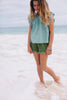 ISLAND STATE CO Girls Mexican Blouse Deep Aqua