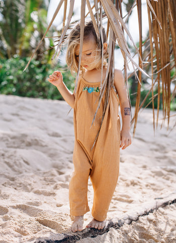 60% OFF ISLAND STATE CO Girls Mexican Playsuit Earthy Caramel