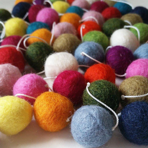 Felt Ball Garland - Multi Coloured -LAST ONE!