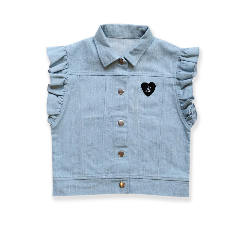 40% OFF Hello Stranger Denim Frill Vest