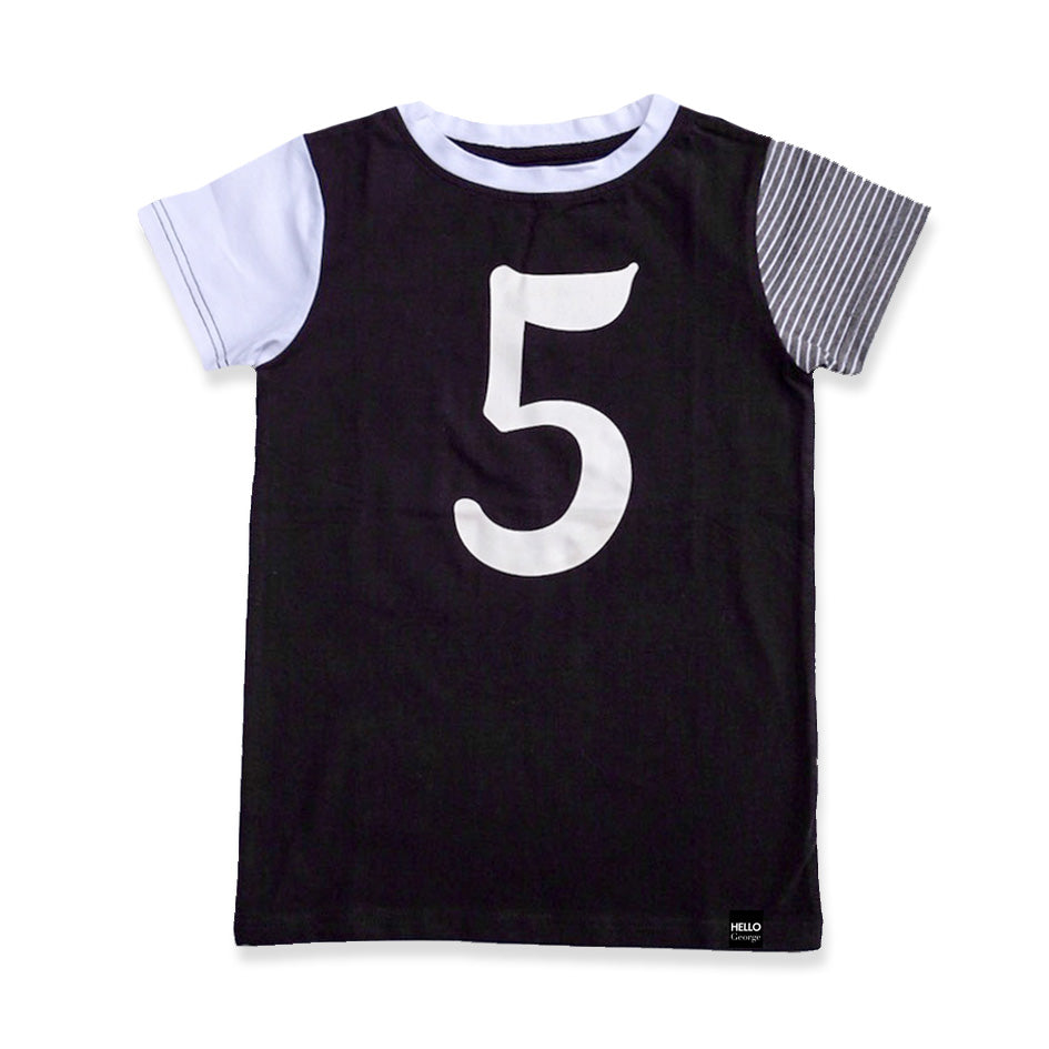 HELLO George Number Kids Tee Blk/White/Charcoal Stripe