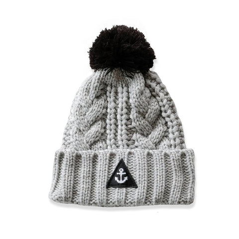 Hello Stranger Cable Beanie Grey