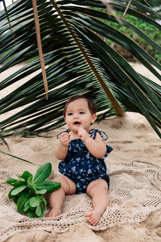 40% OFF ISLAND STATE CO Floral Romper Blue