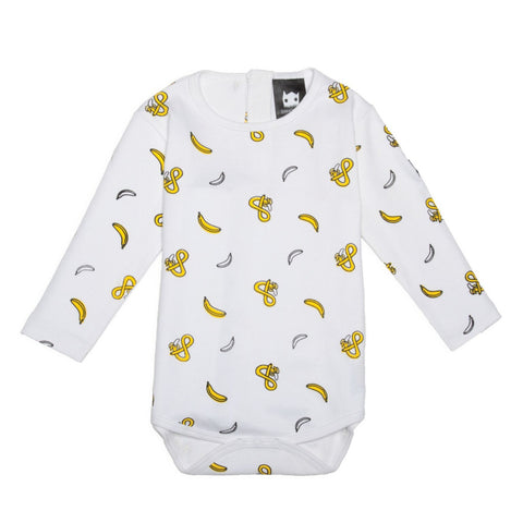 Band of Boys Organic Baby Onesie Banana Print White