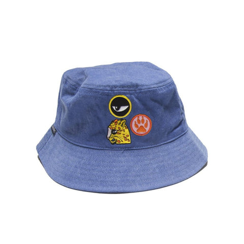 40% OFF Band of Boys Bucket Hat Cat Badges Washed Blue