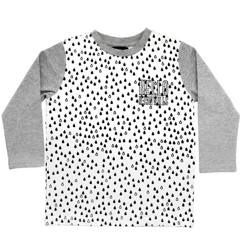 Hello Stranger Raindrops LS Tee White | 40% OFF