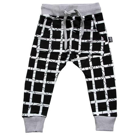Hello Stranger Grid Pocket Trackies Black