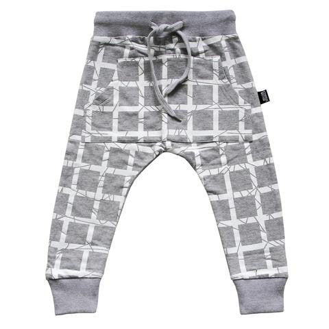 Hello Stranger Grid Pocket Trackies Grey