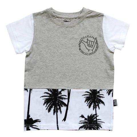 Hello Stranger Palms Tee Grey/White LAST ONE SIZE 8